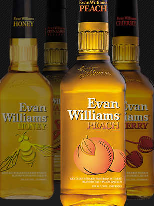 Fresh peach is blended with Evan Williams Kentucky Straight Bourbon Whiskey, and bottled at 35% abv
